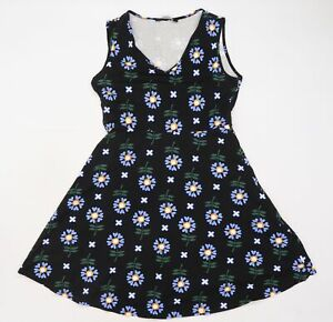 Dorothy Perkins Womens Black Floral  Fit & Flare  Size 14