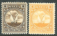 Malta 1904 brown 4.5d orange 4.5d mint SG57/58