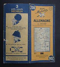 Carte MICHELIN n°206 old map ALLEMAGNE DEUTSCHLAND 1950 Bibendum pneu tyre