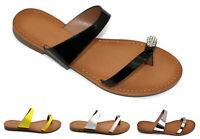 Womens Ladies Beach Flats Sliders Flip Flop Strappy Summer Sandals Shoes