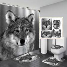 Wolves Wolf Gray Shower Curtain Bath Mat Toilet Cover Rug Bathroom Decor