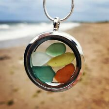 Genuine Irish Sea glass locket on 50cm stamped silver plated necklace