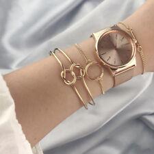 3Pcs/set Gold Women Fashion Watch Bracelets Set Knot Bangles Adjustable Chain