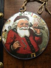 DOUBLE SIDED / SANTA / METAL ORNAMENT 6 INCH CHRISTMAS PRIMITIVE HOLIDAY COUNTRY