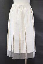 NWT$1145 Brunello Cucinelli Linen Blend Mesh Tulle Detailed Full Skirt Sz 42/6US