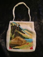Vintage White Beaded DELILL Purse - Cabin in the Woods Design  Handmade in Japan