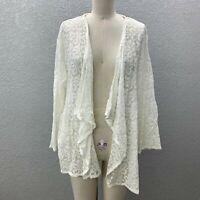 VTG Tudor Court Cardigan Jacket Women's XL White Lace Open Front Long Sleeve