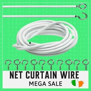 NET CURTAIN WIRE WHITE WINDOW CORD CABLE VIOLE WITH HOOK EYES
