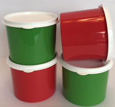 Tupperware Christmas Gift Canisters Set of 4 w/ Seals 2-cup Red Green New