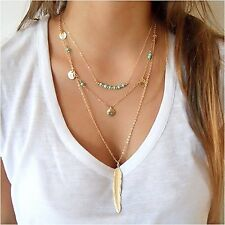 Necklace Multi Layer Chain Pendant Charm Beads Pendants Arrow Feather Gold New