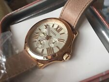 Fossil AM4532 Ladies Cecile Watch Rose Gold Tone Leather Sand Strap UNUSED