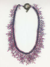 FRINGE BEADED NECKLACE WITH MARQUISITE TOGGLE CLASP