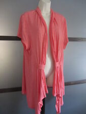 Duster Overcoat Dress Sz 14 16 XL Coral Short Sleeve Buttons Adorable