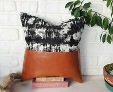 Horizontal cognac faux leather abstract black-white pattern pillow cover-1QTY