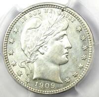 1909 Barber Quarter 25C Coin - PCGS Uncirculated Details (UNC MS) - Rare Date!