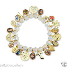 New Catholic Religious Bracelet with Saint Medals and Charms, Made in Brazil