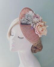 Nude Blush Pink & Ivory Rose Dusky Lavender Floral Dipped Saucer Hat Fascinator