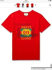 100% Authentic Gucci Logo Distressed Printed Cotton Jersey T-shirt Coco Red - XL