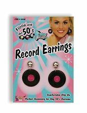 Black Vinyl Record Earrings 1950s Fancy Dress Costume Prop Jewellery