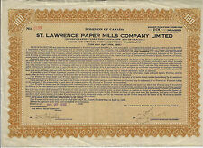 CANADA 1930 St Lawrence Paper Mills Company LTD Stock Certificate