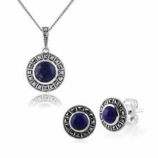 Sterling Silver Art Deco Lapis Lazuli & Marcasite Stud Earring and Necklace Set