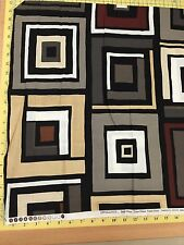 Black, Brown, & Gray Squares Quilt Fabric -END OF BOLT SALE-  1+ yard piece