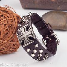 Men's Vintage Punk Rock Gothic Wide Leather Cross Rivets Studded Bracelets Cuff
