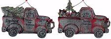 TRUCK TREE DOG METAL SET 2 VINTAGE GALVANIZED CHRISTMAS ORNAMENT NEW JEWELRY