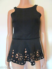 NEW RIVER ISLAND BLACK TOP 12 SKATER PEPLUM FLARED FLORAL CUT OUT DETAIL