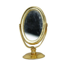 1/12 espejo de afeitar de metal en miniatura de casa de muñeca oro A3J3