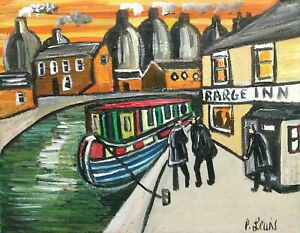 """PHIL LEWIS- BARGEMEN STOPPING OFF AT CANALSIDE INN- 8x10"""" 25x20cm NORTHERN ART"""