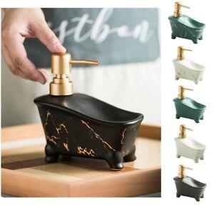 350ml Soap Dispenser 15x15cm Ceramic Bathtub Shape Marble Pattern Shampoo Bottle