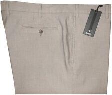 $295 NWT ZANELLA SPRING SUMMER TAUPE SEERSUCKER STRIPE LT COTTON DRESS PANTS 40