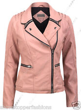 Size 6 8 10 12 14 16 18 20 NEW Women's BIKER JACKET PU FAUX LEATHER Ladies Pink