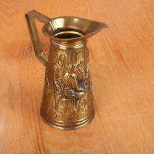 Vintage Metal CopperPitcher Embossed With Image of Men At Table