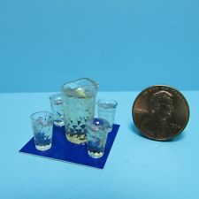 Dollhouse Miniature Chrysnbon Pitcher of Lemonade and 4 Filled Glasses CB167