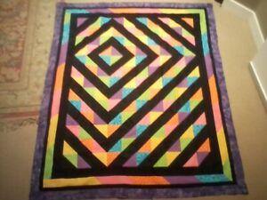 "Handmade Neon Half-square Triangle Off set Diamond quilt pattern 55"" X 72"""