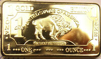 1 Troy Ounce 100 mills .999 Fine Gold Buffalo Bar.... Free Shipping From Ohio!!