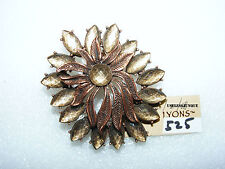 ERICA LYONS ANTIQUE COPPER PLATED MUTI COLOR STONE PIN BROOCH #525