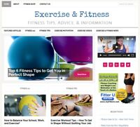 * EXERCISE & FITNESS TIPS  * affiliate website for sale w/ DAILY AUTO CONTENT