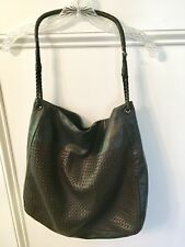 Authentic BOTTEGA VENETA Large Black W/ Brown Woven Leather Hobo Shoulder Purse