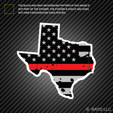 Distressed Thin Red Line Texas State Shaped Subdued US Flag Sticker fire TX