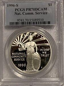 1996 S NATIONAL COMMUNITY SERVICE COMMEMORATIVE PROOF SILVER DOLLAR PCGS PR70