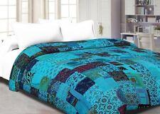 Kantha quilt patchwork cotton indian bedspread handmade twin size crazy blanket