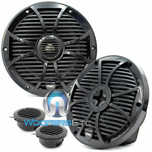 "WET SOUNDS SW-808-B 8"" 125W RMS BLACK MARINE BOAT COAXIAL SPEAKERS TWEETERS NEW"