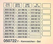 Coche a escala Accesorio conjunto F-bandera Placa Set Número de matrícula 1:87