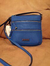 CALVIN KLEIN 3 Zip Leather Crossbody Handbag Purse Cobalt H2RE1166 NWT $118