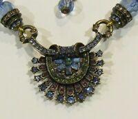 "Vintage Heidi Daus ""Beauty to Go"" Crystal Necklace Estate Purple Blue HSN"