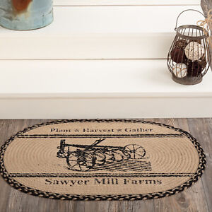 """VHC Brands Farmhouse 20""""x30"""" Plow Accent Rug Tan Thanksgiving Mill Holiday Decor"""