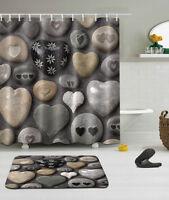 "72/79"" Beautiful Stone Heart Shower Curtain Bathroom Mat Rug Waterproof Fabric 9"
